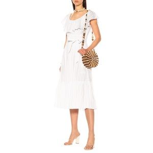Tory Burch Frilled Cotton Midi Dress In White